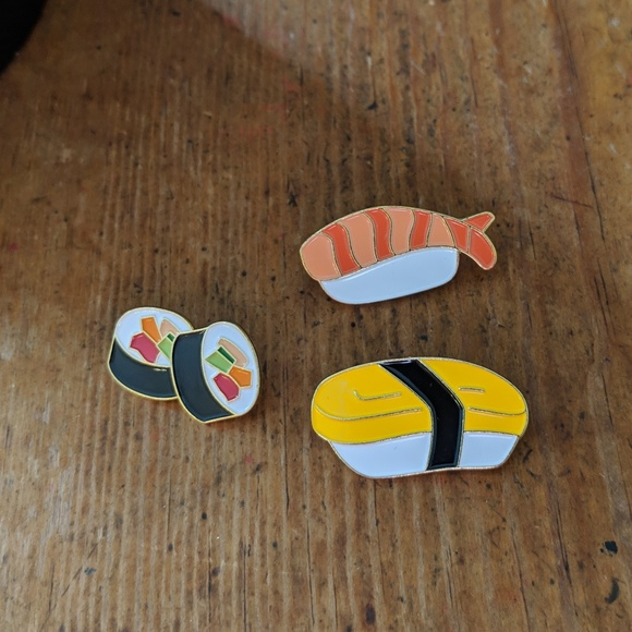 Accessories - Set of 3 Sushi Metal Enamel PIns NWOT